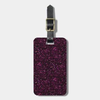 Dark Pink Posh Glitter Travel Bag Tags