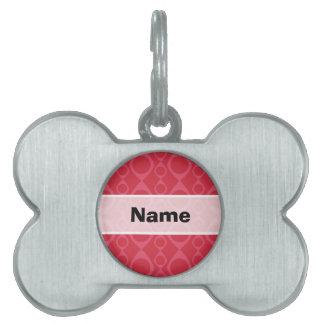 Dark Pink Retro Pattern Pet Name Tag