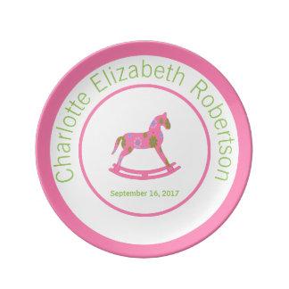 Dark Pink Rocking Horse Keepsake Birthday Plate