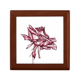 Dark Pink Rose Sketch Jewelry Box