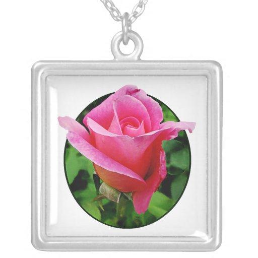Dark Pink Rose Square Pendant Necklace