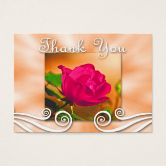 Dark Pink Rose Thank you Business Card