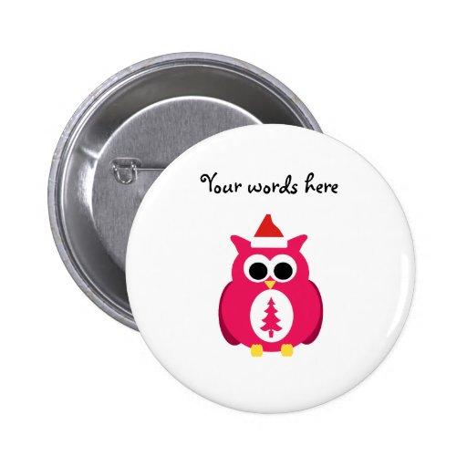 Dark pink santa owl buttons