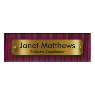 Dark Pink Satin Ribbon with Gold Label Plate Name Tag