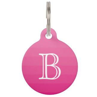 Dark Pink Shades Stripes Monogram Initial Simple Pet Tag