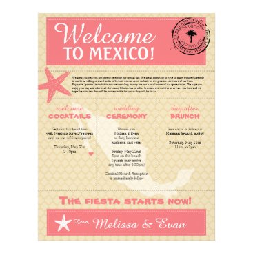Beach Themed Dark Pink Starfish Cabo Mexico Welcome Letter Letterhead