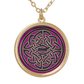 Dark Pink Stone With Black and Gold Celtic Knot Gold Plated Necklace