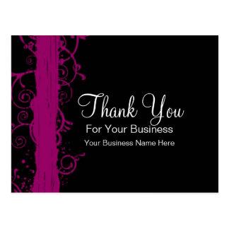 Dark Pink Swirls :: Business Postcard Template