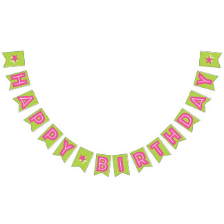 DARK PINK TEXT & LIME GREEN COLOR ☆HAPPY BIRTHDAY☆ BUNTING FLAGS