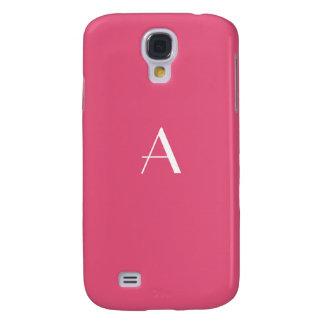 Dark Pink w/ White Monogram Samsung Galaxy S4 Cases