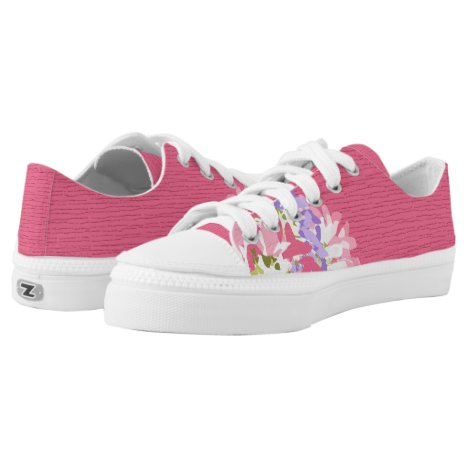 Dark pink with lighter pink, mauve & white floral Low-Top sneakers