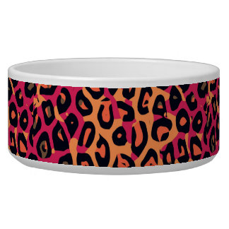 Dark Pink Yellow Orange Cheetah Abstract Bowl