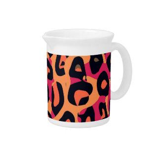 Dark Pink Yellow Orange Cheetah Abstract Drink Pitchers