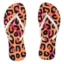 Dark Pink Yellow Orange Cheetah Abstract Flip Flops