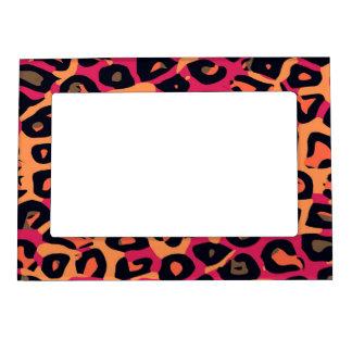 Dark Pink Yellow Orange Cheetah Abstract Magnetic Photo Frame
