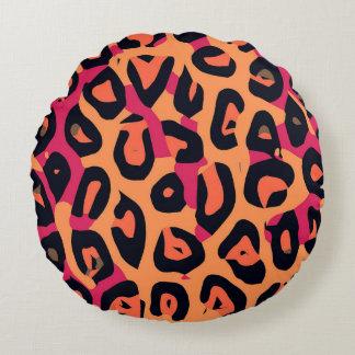 Dark Pink Yellow Orange Cheetah Abstract Round Pillow