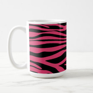 Dark Pink Zebra Stripes Animal Print Coffee Mug
