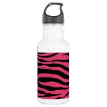 Dark Pink Zebra Stripes Animal Print Water Bottle
