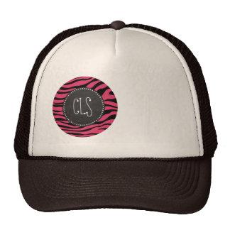 Dark Pink Zebra Stripes; Chalkboard look Trucker Hat