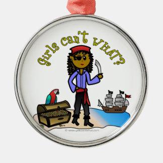 Dark Pirate Girl Metal Ornament