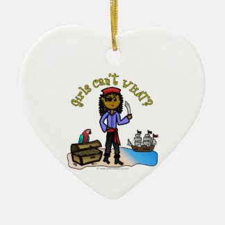 Dark Pirate Girl Double-Sided Heart Ceramic Christmas Ornament