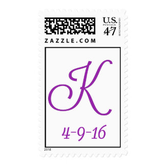 Dark plum and white monogram postage