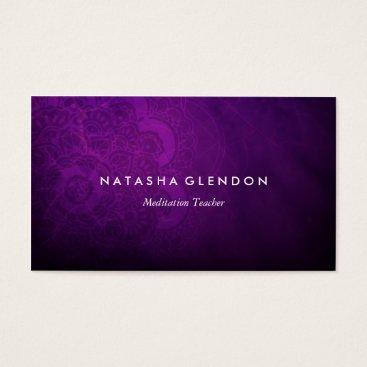 beckynimoy Dark Plum Purple Mandala Zen Business Card