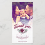 """Dark Plum Rose Bouquet Baptism Thank You Photo<br><div class=""""desc"""">Baptism photo card personalized with a photo of you beautiful baby. Thank you written in a gorgeous dark plum brush script above a rose bouquet in cool colors of deep violet and pale pink, and a personal message to your baptism guests. The edge between wedding photo and text is softened...</div>"""
