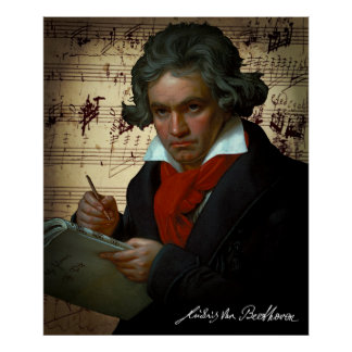 DARK PORTRAIT of the MUSICAL GENIUS BEETHOVEN 1820 Poster