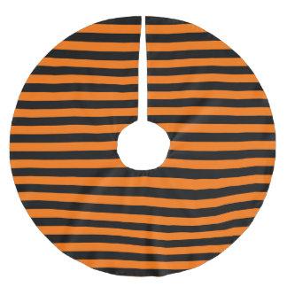 Dark Pumpkin Orange and Black Horizontal Witch Str Brushed Polyester Tree Skirt