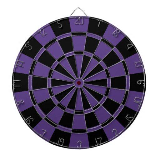 Dark Purple And Black Dartboard With Darts