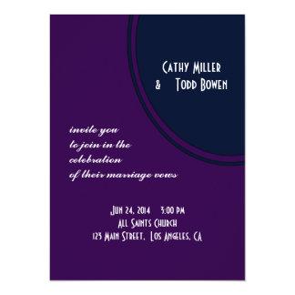 Dark purple and blue modern circle wedding card