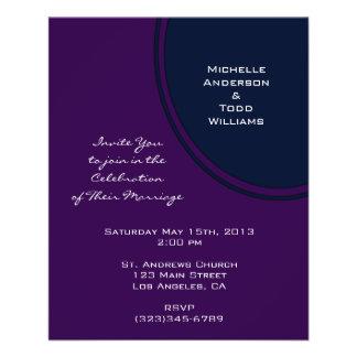 Dark purple and blue modern circle wedding flyer