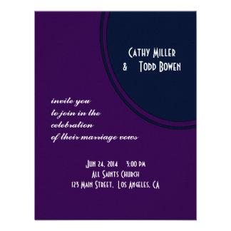 Dark purple and blue modern circle wedding personalized invitations