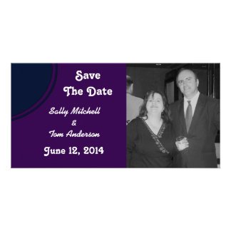 Dark purple and blue modern circle wedding custom photo card