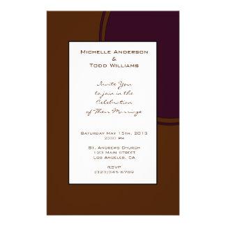 """Dark purple and Brown modern Wedding 5.5"""" X 8.5"""" Flyer"""