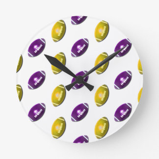 Dark Purple and Gold Football Pattern Round Clocks