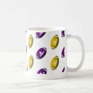 Dark Purple and Gold Football Pattern Mugs