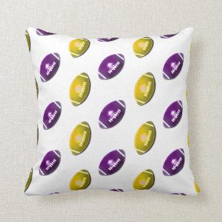 Dark Purple and Gold Football Pattern Pillow