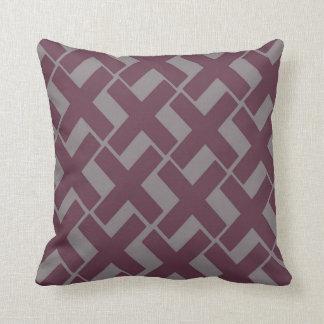 Dark Purple and Gray Xs Throw Pillow