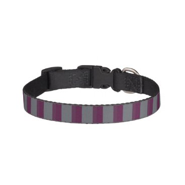 Halloween Themed Dark Purple and Grey Striped Dog Collar