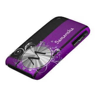Dark purple and monogram iPhone 3 case