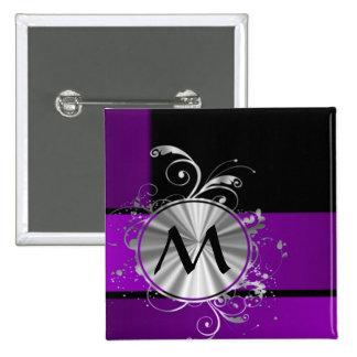 Dark purple and monogram pinback button