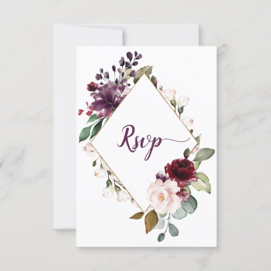 Dark Purple and Red Floral Framed Menu Choice RSVP