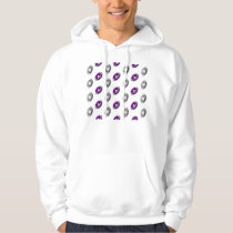 Dark Purple and Silver Gray Football Pattern Hoodie