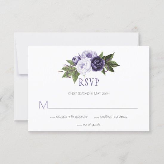 Dark Purple and Violet Peonies Wedding RSVP |