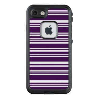 Dark Purple and White Mixed Stripes LifeProof® FRĒ® iPhone 7 Case