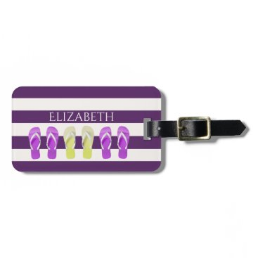 Beach Themed Dark purple and white stripes with flip flop decor luggage tag