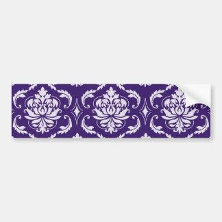 Dark Purple and White Vintage Damask Pattern Car Bumper Sticker