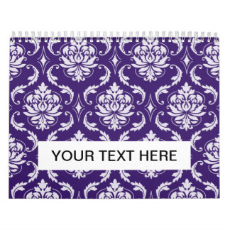 Dark Purple and White Vintage Damask Pattern Calendar